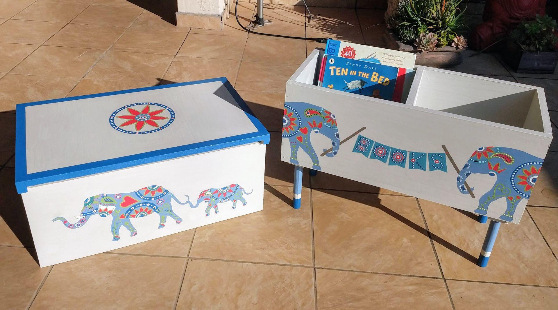 Elephant Storage Box & Book Stand Matching Set